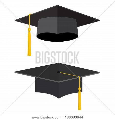 University academic graduation caps with tassel Graduation hat for ceremony. vector illustration in flat style