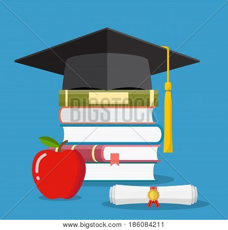 Graduation cap on books stacked, mortar board with pile of books and diploma, apple, symbol of education, learning, knowledge, intelligence, vector illustration in flat style