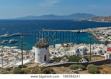 Panorama of white windmill and island of Mykonos, Cyclades, Greece