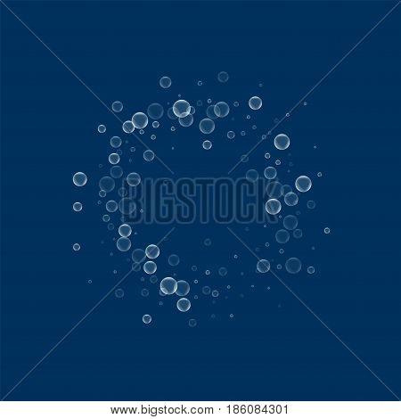 Soap Bubbles. Small Circle Frame With Soap Bubbles On Deep Blue Background. Vector Illustration.