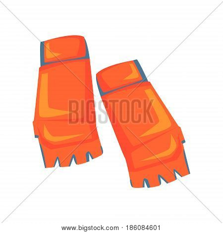 Red open fingers sparring grappling gloves, martial arts gear. Taekwondo sport equipment. Colorful cartoon vector Illustration isolated on a white background