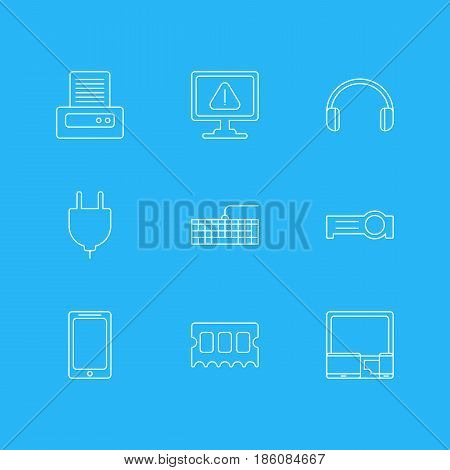 Vector Illustration Of 9 Notebook Icons. Editable Pack Of Headsets, Qwerty Board, Presentation And Other Elements.