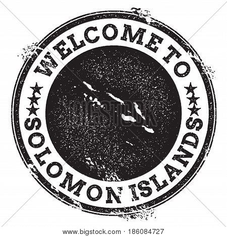 Vintage Passport Welcome Stamp With Solomon Islands Map. Grunge Rubber Stamp With Welcome To Solomon