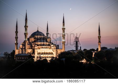 Istanbul's Blue Mosque at Twilight bathed in golden colours