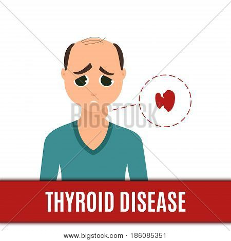 Thyroid gland disorder poster. Man with hyperthyroidism disease and goiter. Body anatomy sign. Human endocrine system. Medical internal organ vector illustration.