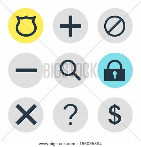 Vector Illustration Of 9 User Icons. Editable Pack Of Padlock, Plus, Access Denied And Other Elements.