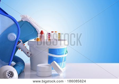Chemical Cleaning Products And Tools For Pool Blue Background