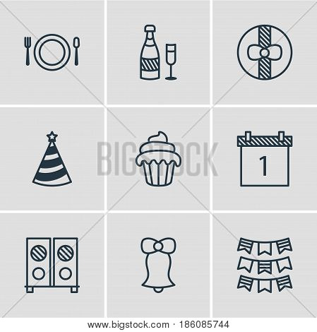 Vector Illustration Of 9 Banquet Icons. Editable Pack Of Jingle, Speaker, Fizz And Other Elements.