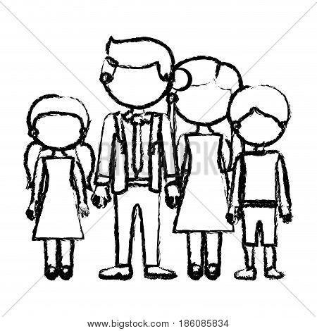 blurred black contour faceless family group in elegant clothing and taken hands vector illustration