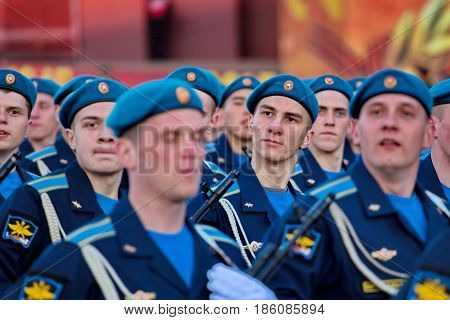 Yekaterinburg, Russia - 9 May, 2017: Celebration of Victory Day parade. Solemn passage of marching soldiers of various units. Closeup.