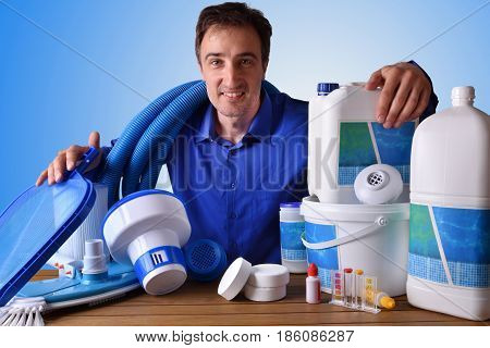 Swimming Pool Maintenance Commercial With Blue Background
