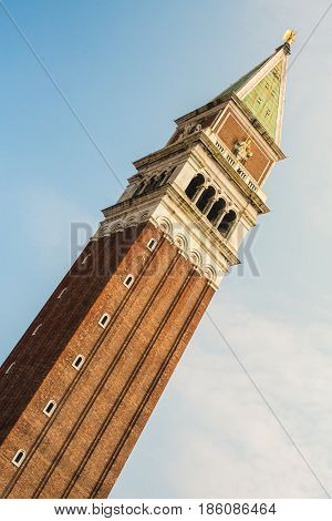 St Mark's Bell tower of St Mark's basilica in Venice Italy. Found in Piazza San Marco it is one of the most recognisable symbols of the city.