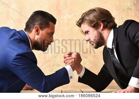 Conflict. Businessmen Arm Wrestling
