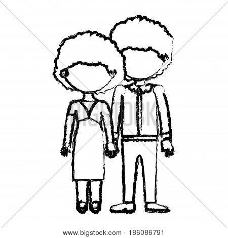 blurred black contour faceless curly couple taken hands vector illustration