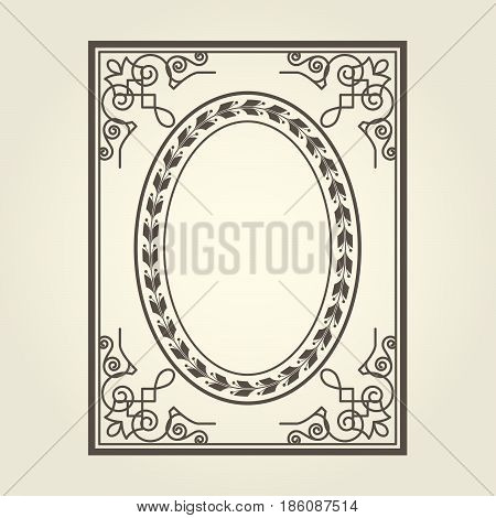 Vintage oval frame with ornate curly corners
