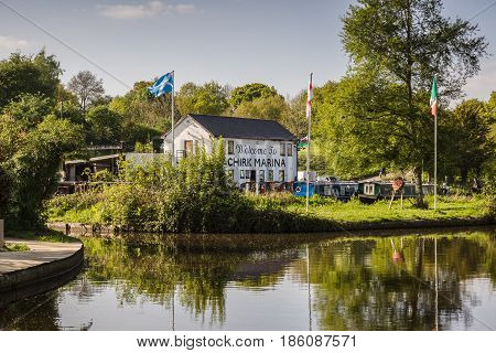 Chirk Wales UK - May 8 2017: Chirk Marina with narrowboats moored up a boat hire repair fuelling and maintenance centre on the Llangollen canal