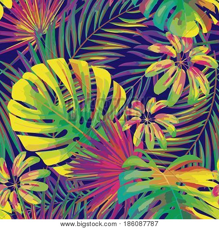 vector seamless beautiful artistic bright tropical pattern with exotic frond. Colorful original stylish floral background print, bright rainbow colors on dark blue