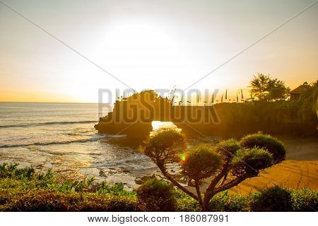 Tanah Lot Water Temple In Bali. Indonesia Nature Landscape. Sunset