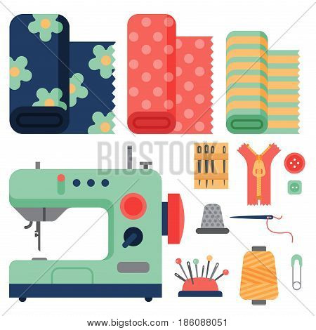 Thread supplies and accessories for sewing equipment tailoring fashion pin craft needlework vector illustration. Collection embroidery tape industry knitting