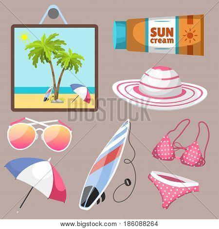 Summer time beach sea shore realistic accessory vector illustration. Sunshine travel hot season decoration holiday vacation beautiful graphic paradise concept.