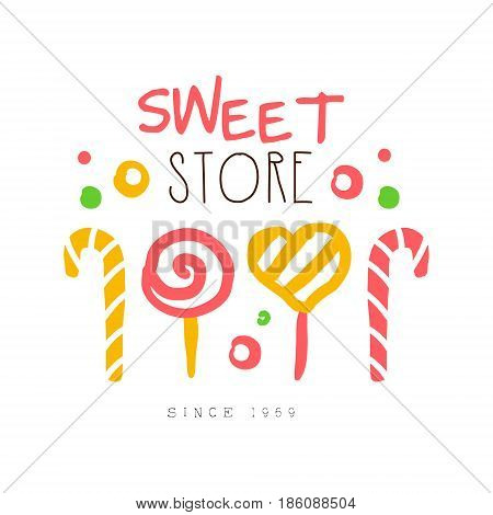 Sweet store, since 1959 logo. Colorful hand drawn label for confectionery, bakery, candy bar