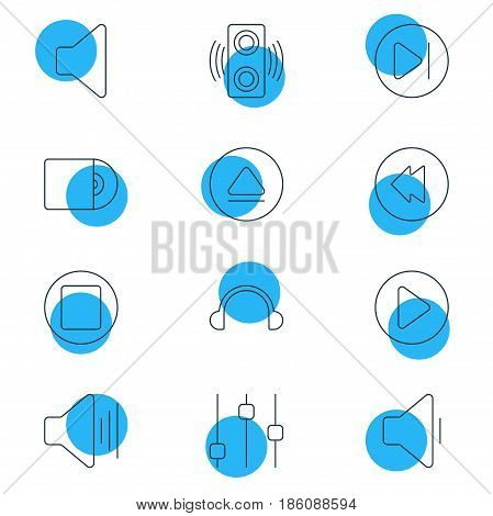 Vector Illustration Of 12 Melody Icons. Editable Pack Of Start, Reversing, Earphone And Other Elements.