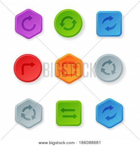 Colorful website turn buttons design vector illustration glossy graphic label internet template banner. Rounded blank menu reflection business navigation download interface.