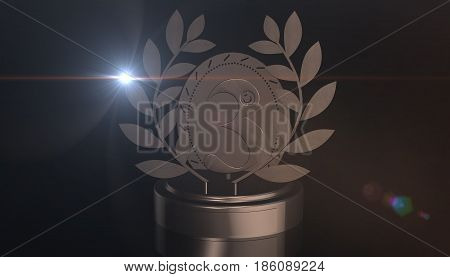 Third place trophy cup, 3d rendering on black backgroud