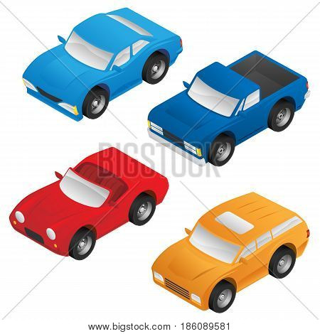 Isometric Sedan, Sports Car, SUV and Pickup Truck Vector Pack
