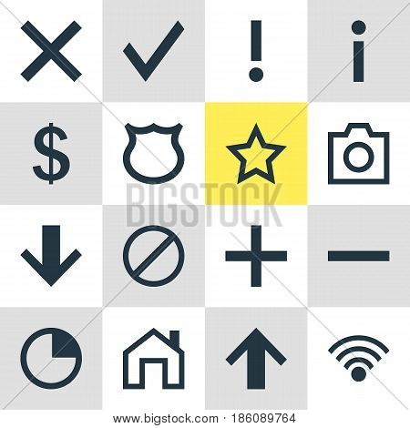 Vector Illustration Of 16 User Icons. Editable Pack Of Info, Snapshot, Conservation And Other Elements.