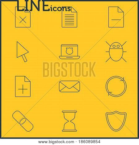 Vector Illustration Of 12 Network Icons. Editable Pack Of Refresh, Removing File, Delete Data And Other Elements.