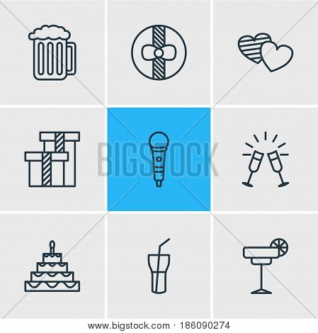Vector Illustration Of 9 Party Icons. Editable Pack Of Goblet, Karaoke, Patisserie And Other Elements.