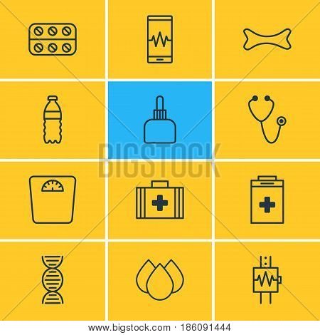 Vector Illustration Of 12 Medical Icons. Editable Pack Of Medical Bag, Trickle, Plastic Bottle And Other Elements.