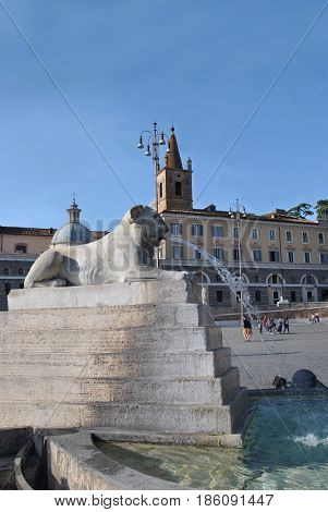 Sculpture sphinx on the well-known square Piazza del Poppolo at Rome