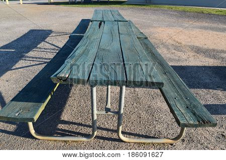 Empty Picnic table at a ball park