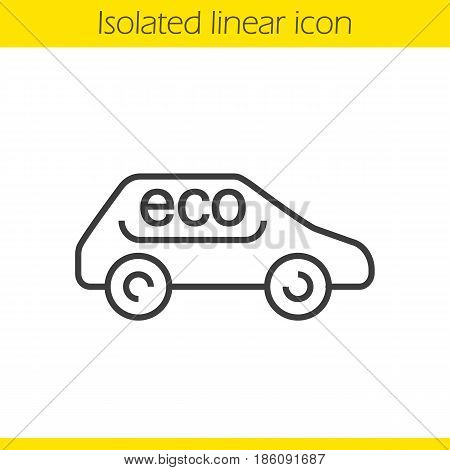 Eco car linear icon. Thin line illustration. Eco friendly automobile contour symbol. Vector isolated outline drawing