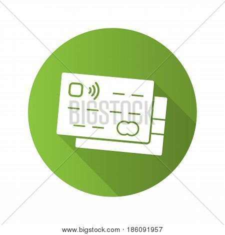 Credit cards flat design long shadow icon. Bank debit cards. Vector silhouette symbol