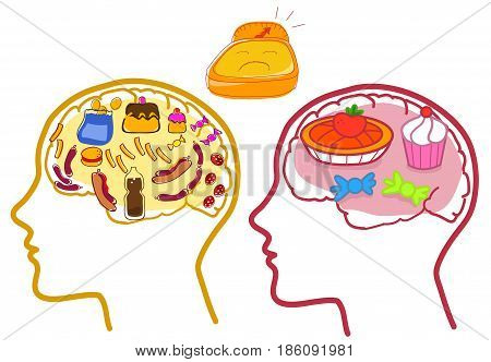 Human profile with visible brain. Concept vector about wrong diet.