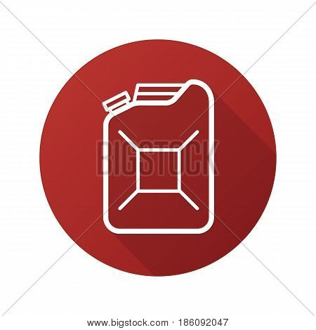 Gasoline canister flat linear long shadow icon. Petrol jerrycan. Fuel. Vector line symbol