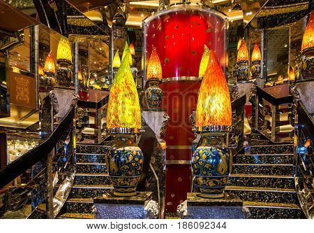 Cruise liner Costa Mediterranea - May 12, 2017: Decorative lamps in modern interior of cruise liner Costa Mediterranea