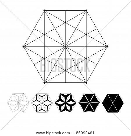 Sacred Geometry. The intersection of geometric lines. A clear increase in weight. Increasing. exahedron. Hexagonal shapes set. Crystal forms. Hexagons vector illustration