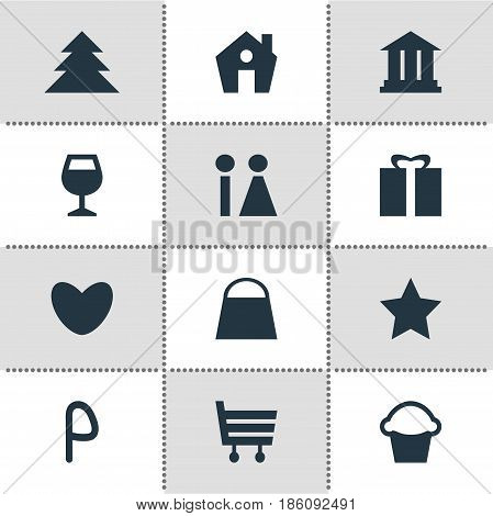 Vector Illustration Of 12 Check-In Icons. Editable Pack Of Home, Heart, Present And Other Elements.