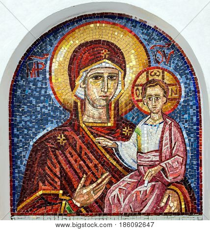 Ostrog, Montenegro - may 7, 2017: Virgin Mary - mosaic icon in rocky Serbian Orthodox Christian monastery Ostrog in mountains Montenegro