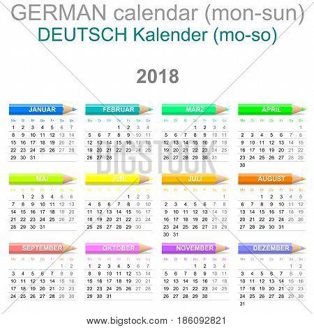 2018 Crayons Calendar German Version Monday To Sunday