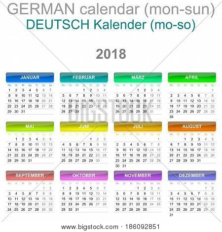 2018 Calendar German Language Version Monday To Sunday