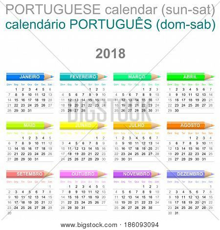 2018 Crayons Calendar Portuguese Version Sunday To Saturday
