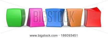 Five Colorful Blank Funny Cubes