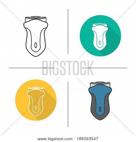 Electric shaver icon. Flat design, linear and color styles. Razor. Isolated vector illustrations