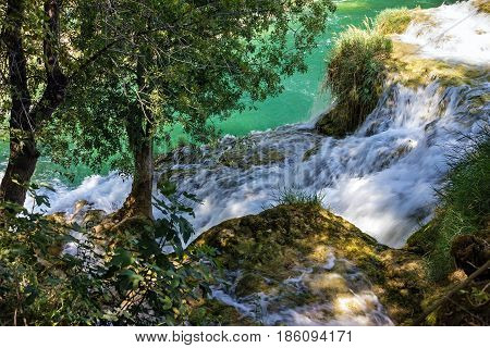 Croatia natural travel background national park. Waterfall of Plitvice lake