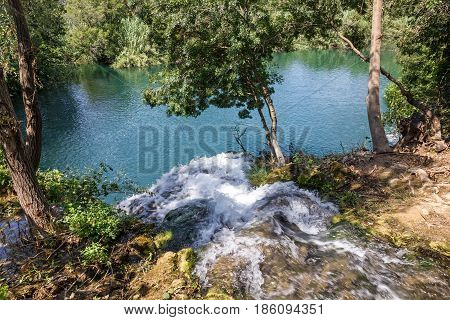 Lake landscape in Krka National park in Croatia